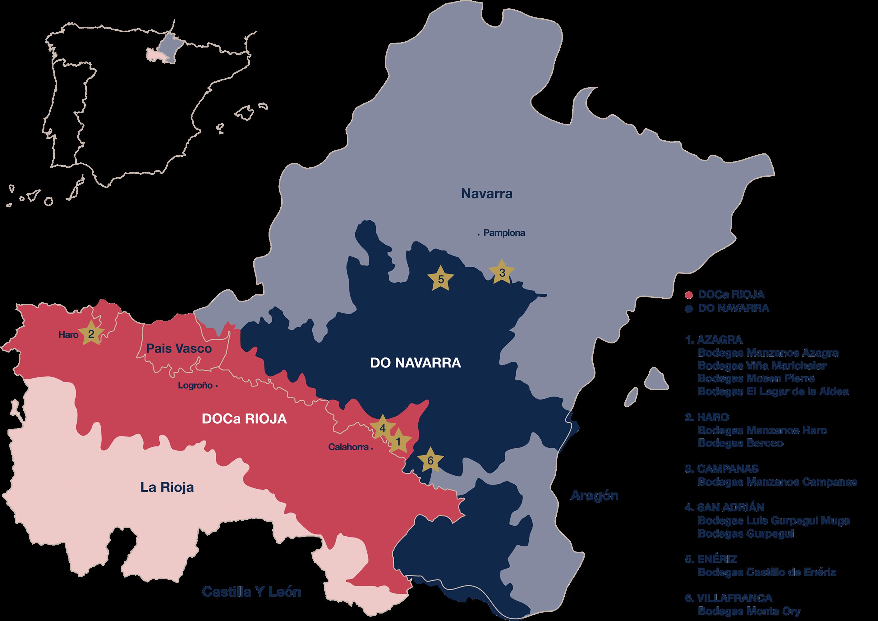 Mapa bodegas Manzanos Wines